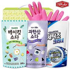탑셰프 베이킹소다300리필 과탄산표백제 세탁조크리너 비닐고무장갑32cm(4종)